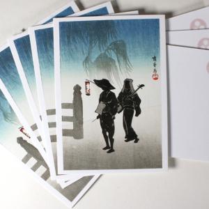 shamisen ukiyo-e woodblock print postcard